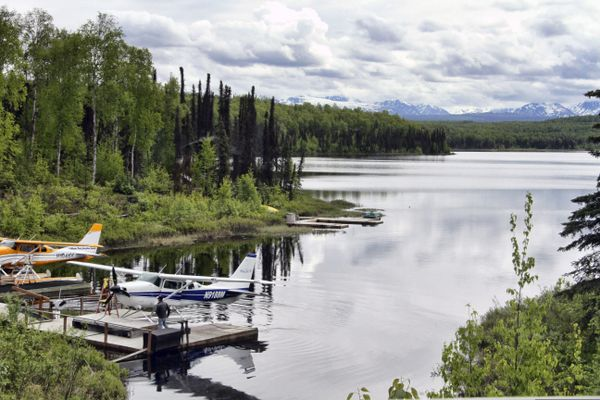 In this June 2, 2020, photo idle float planes sit at a lake near Talkeetna, Alaska. Normally a bustling tourist town, things this summer are pretty quiet in Talkeetna after most major cruise ship companies have canceled their summer tourist seasons. As a result nearly half of Alaska's annual 2.2 million visitors won't be visiting the nation's northernmost state. (AP Photo/Mark Thiessen)