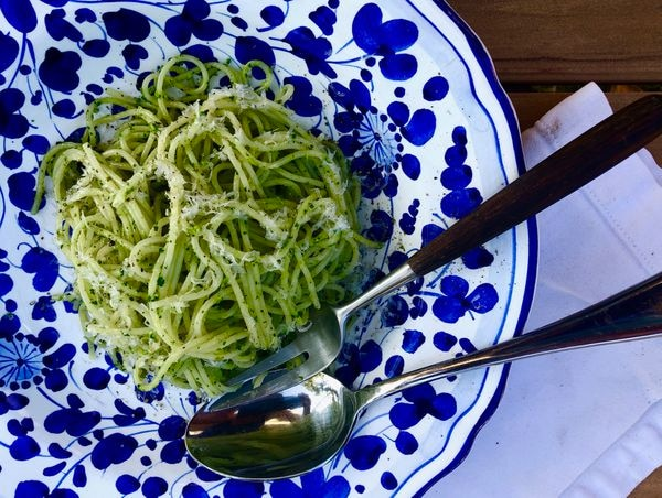 You can make this pesto with whatever herbs and greens might be overtaking your garden right now. Freeze for a burst of green in the winter. (Photo by: Julia O'Malley/ADN)