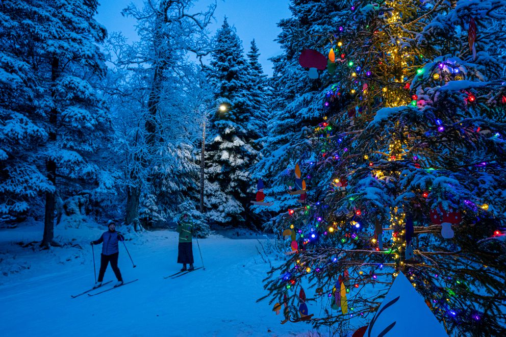 A decorated spruce tree attracts skiers during the Solstice Tree Tour on Saturday, Dec. 12, 2020 at Kincaid Park. (Loren Holmes / ADN)