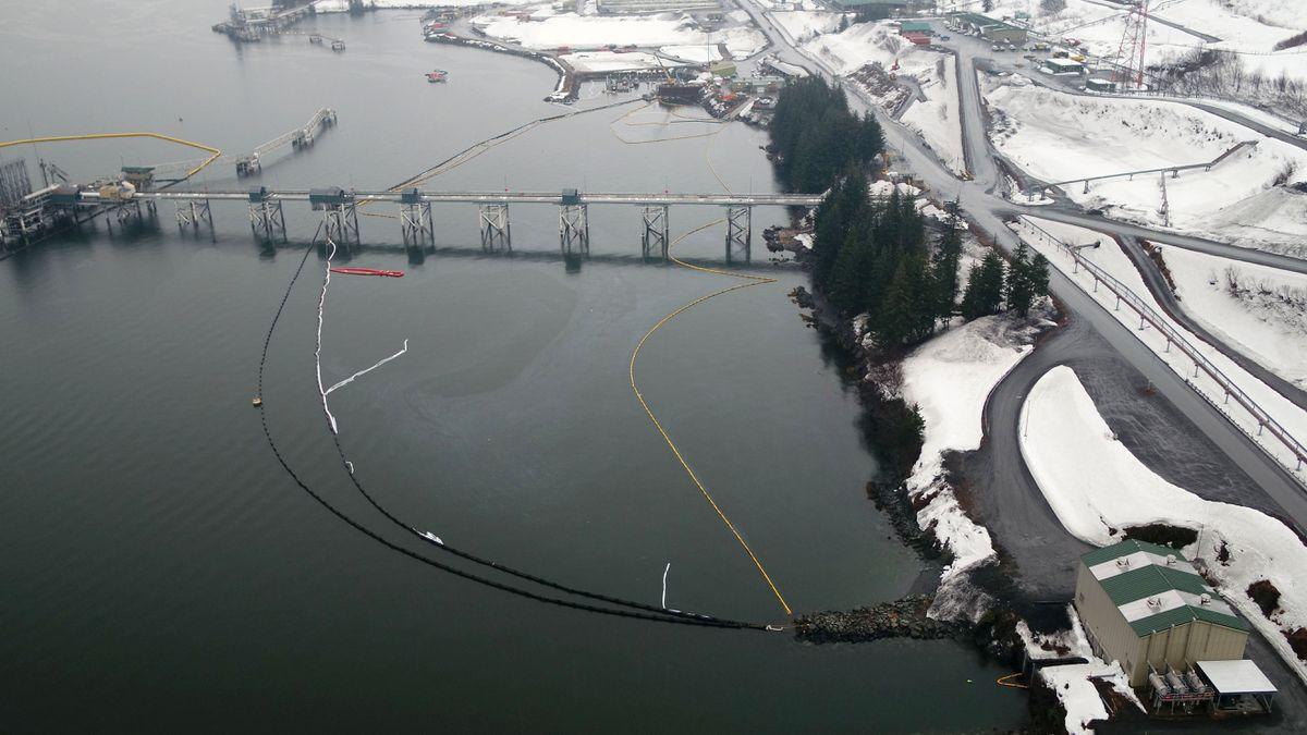 Overflight of the Valdez Marine Terminal, April 20, 2020. (Photo provided by Alyeska Pipeline)
