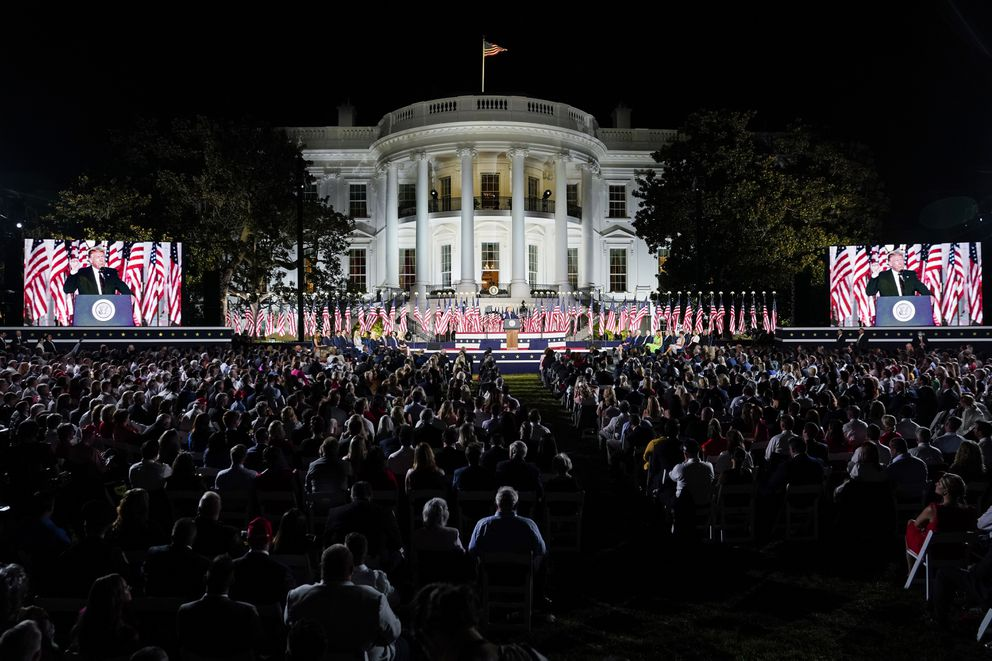 President Trump delivers a speech in front of a live audience on the South Lawn of the White House on Aug. 27, the fourth and final night of the Republican National Convention. (Washington Post photo by Jabin Botsford.)