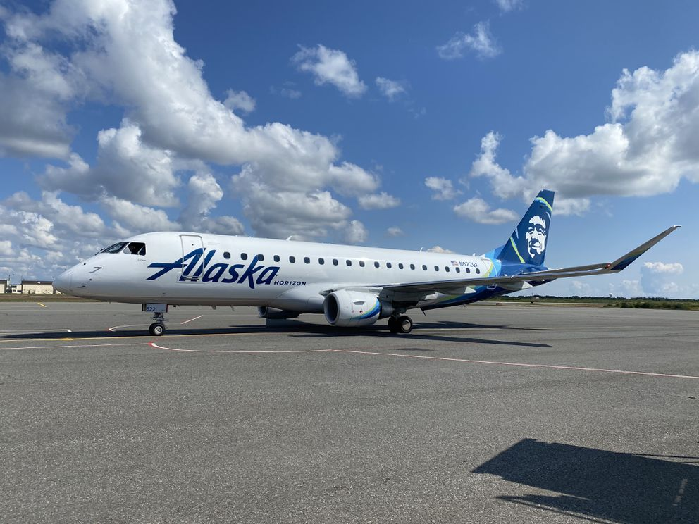 One of Horizon Air's E-175s on the ground in King Salmon during a proving run on Aug. 13, 2020. (Photo courtesy Alaska Airlines)