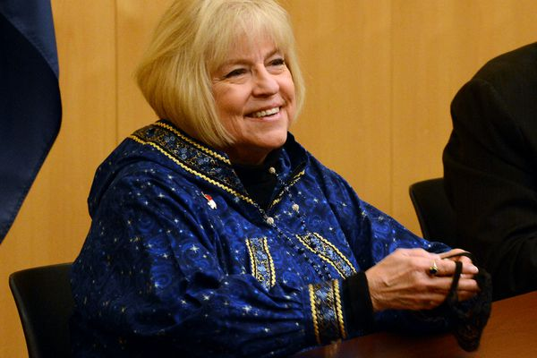 Judy Eledge smiles after voting on Monday, Dec. 14, 2020 as one of Alaska's three Republican electors in the Electoral College. (James Brooks / ADN)