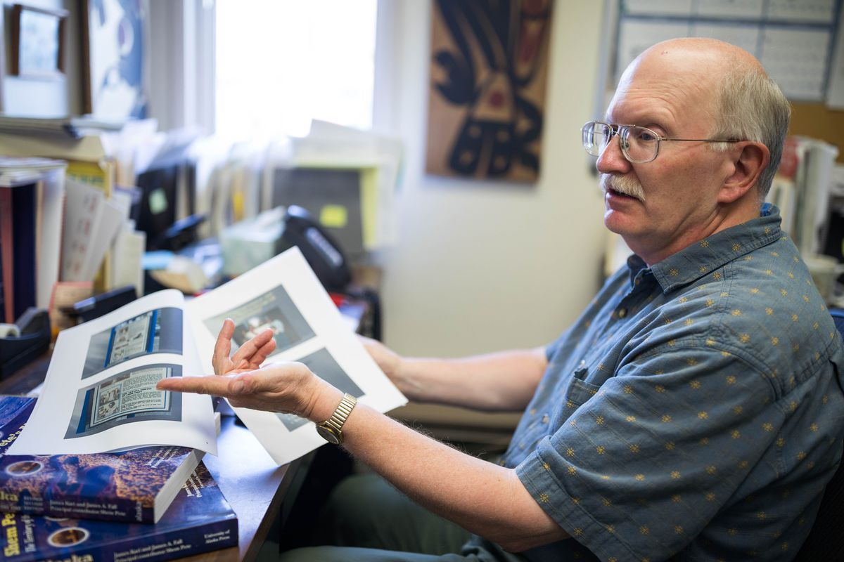 Jim Fall, photographed in his office Wednesday, July 18, 2018, has helped document Dena'ina place names around the Anchorage area. His work provided ideas for Dena'ina place name interpretive signs located throughout Anchorage. (Loren Holmes / ADN)
