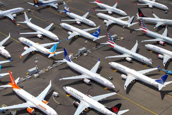 Boeing 737 MAX airplanes are parked along the west side of Boeing Field in Seattle as the company awaits FAA approval for the jets to return to service in June 2019. (Mike Siegel/The Seattle Times/TNS)