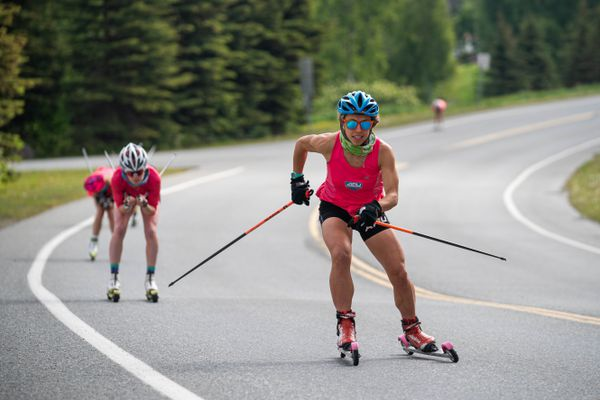 Rosie Frankowski rollerskis with the Alaska Pacific University ski team during a 50-kilometer training session on Wednesday, June 10, 2020 at Kincaid Park in Anchorage. (Loren Holmes / ADN)