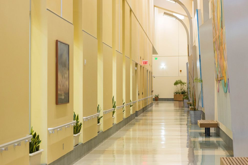 The main hallway at the Alaska Psychiatric Institute, Wednesday, Jan. 6, 2016. (Loren Holmes / ADN)