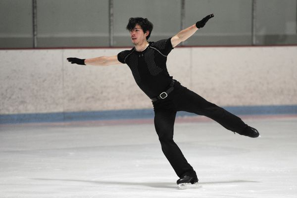 Keegan Messing of Girdwood, practices at the Subway Sports Centre on Thursday, Jan. 4, 2018, in preparation for the upcoming Canadian Tire National Skating Championships and Olympic Trials later this month. Messing who has dual citizenship hopes to make the Canadian Olympic team. (Bill Roth / ADN)