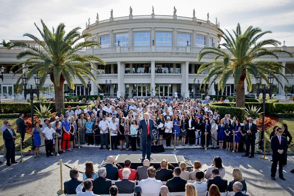 FILE - This photo from Tuesday, Oct. 25, 2016 shows then Republican presidential candidate Donald Trump speaking at a campaign event with employees at Trump National Doral in Miami. President Donald Trump was in full sales mode Monday, Aug. 26, 2019, doing everything but passing out brochures as he touted the features that would make the Doral golf resort the ideal place for the next G7 Summit _ close to the airport, plenty of hotel rooms, separate buildings for every delegation, even top facilities for the media. (AP Photo/Evan Vucci, File)
