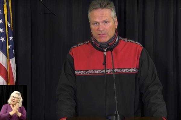 Gov. Mike Dunleavy speaks during a livestream Aug. 2011, 2020.
