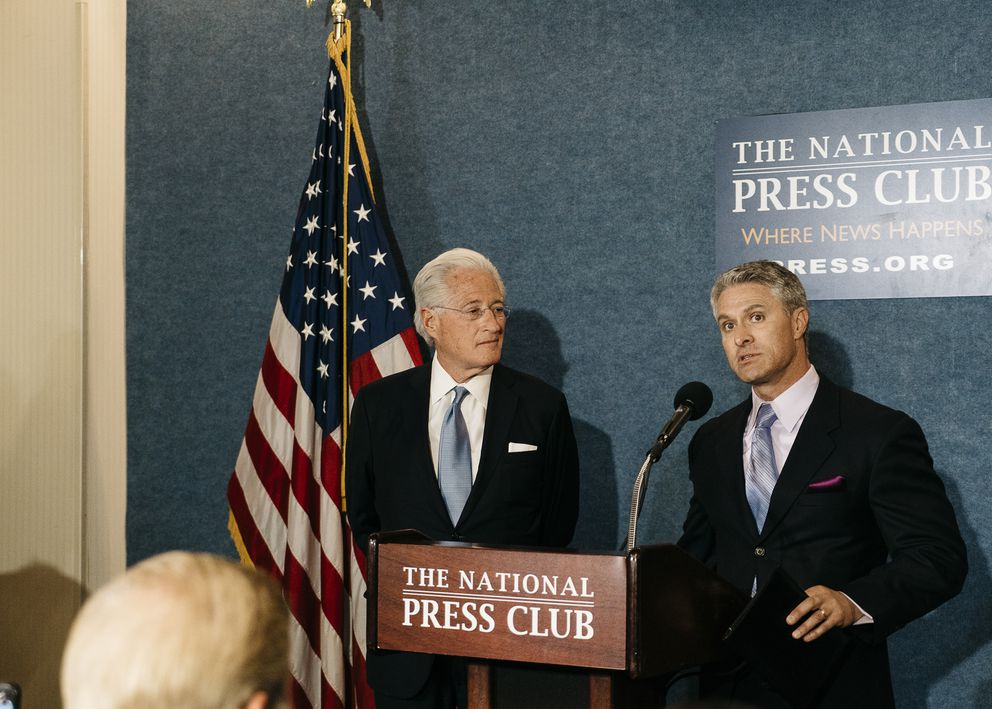 Marc Kasowitz, left, President Donald Trump's personal lawyer, and Mark Corallo, spokesman for Trump's legal team, during a news conference in Washington, June 8, 2017. (Justin T. Gellerson/The New York Times file)