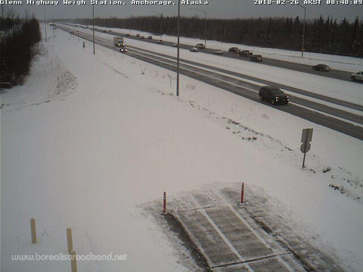 Snow accumulates along the Glenn Highway early Monday. (Borealis Broadband)