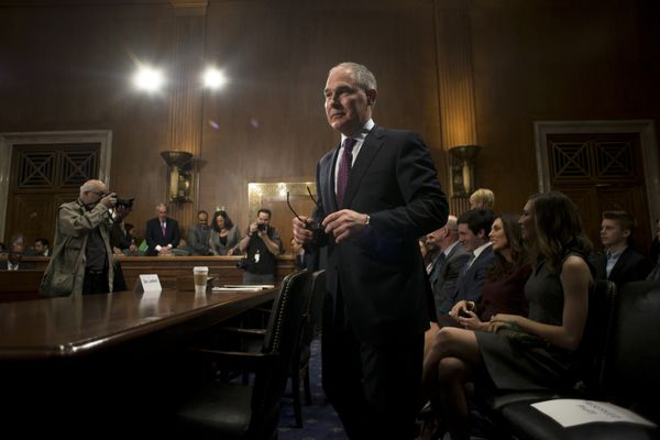 Scott Pruitt, Oklahoma's attorney general and President-elect Donald Trump's pick to run the Environmental Protection Agency, before the start of his conformation hearing before the Senate Environment and Public Works Committee on Capitol Hill, in Washington, Jan. 18, 2017. (Gabriella Demczuk/The New York Times)