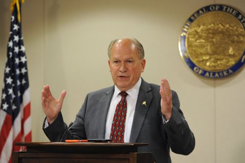 Gov. Bill Walker speaks during a press conference in Anchorage on Monday, July 10, 2017. (Bill Roth / Alaska Dispatch News)