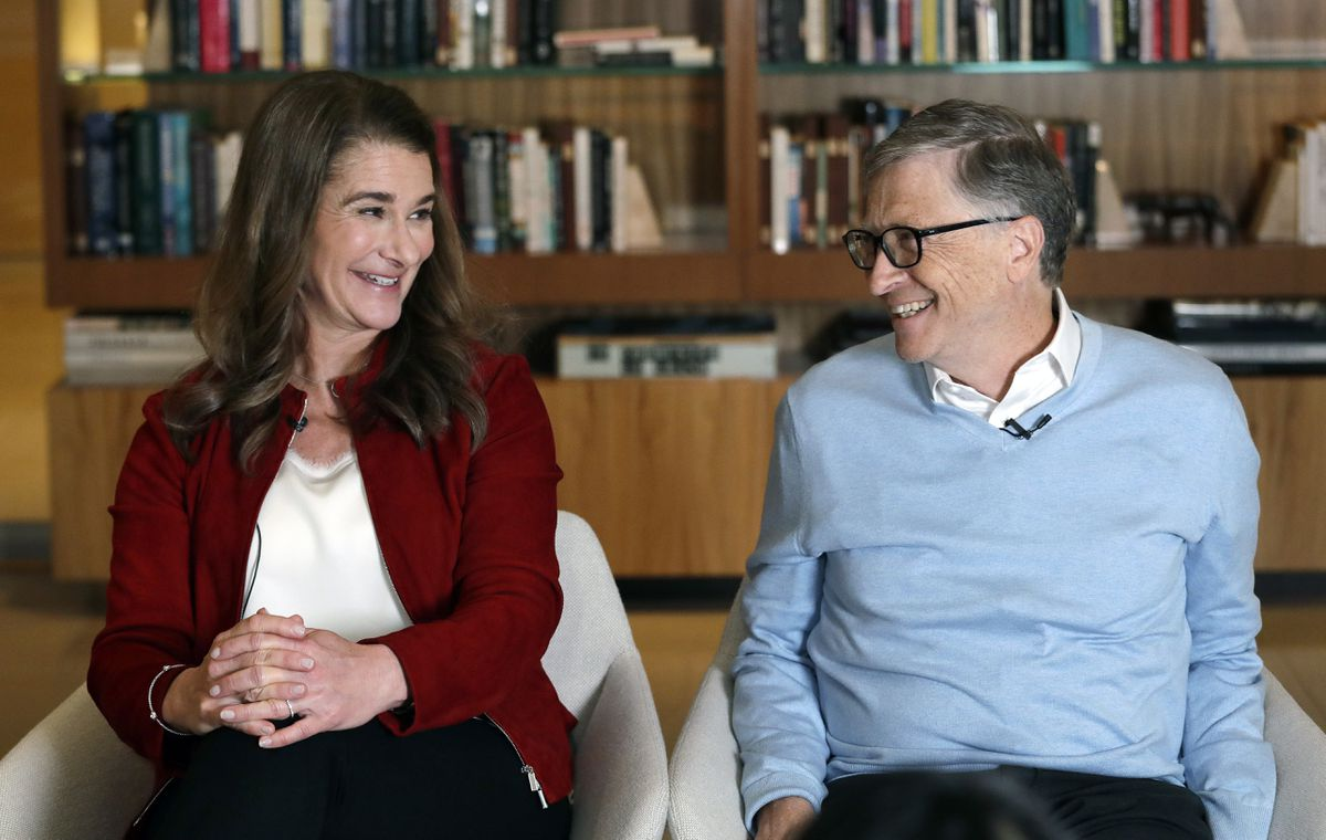 In this Feb. 1, 2019, file photo, Bill and Melinda Gates smile at each other during an interview in Kirkland, Wash. The couple announced Monday that they are divorcing. The Microsoft co-founder and his wife, with whom he launched the world's largest charitable foundation, said they would continue to work together at The Bill & Melinda Gates Foundation. (Elaine Thompson / AP File)
