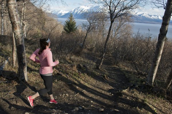 A racer descends the last hill of the course. Runners competed in four and eight-mile divisions in the Turnagain Arm Trail Race. Both divisions ended at the Rainbow Creek Trailhead. (Marc Lester / Alaska Dispatch News)