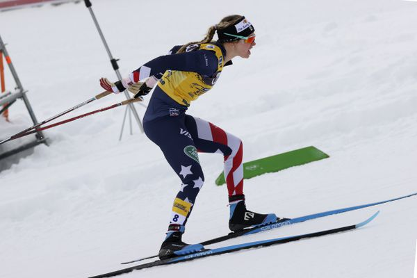 United States' Jessie Diggins competes during a women's Tour de Ski, cross-country ski sprint event, in Val di Fiemme, Italy, Saturday, Jan. 9, 2021. (AP Photo/Alessandro Trovati)
