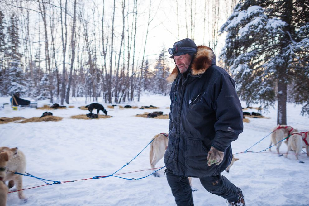 Musher Jim Lanier tends to his dogs after arriving at the Ophir checkpoint during the Iditarod Trail Sled Dog Race on March 7, 2012. (Loren Holmes / ADN archive 2012)