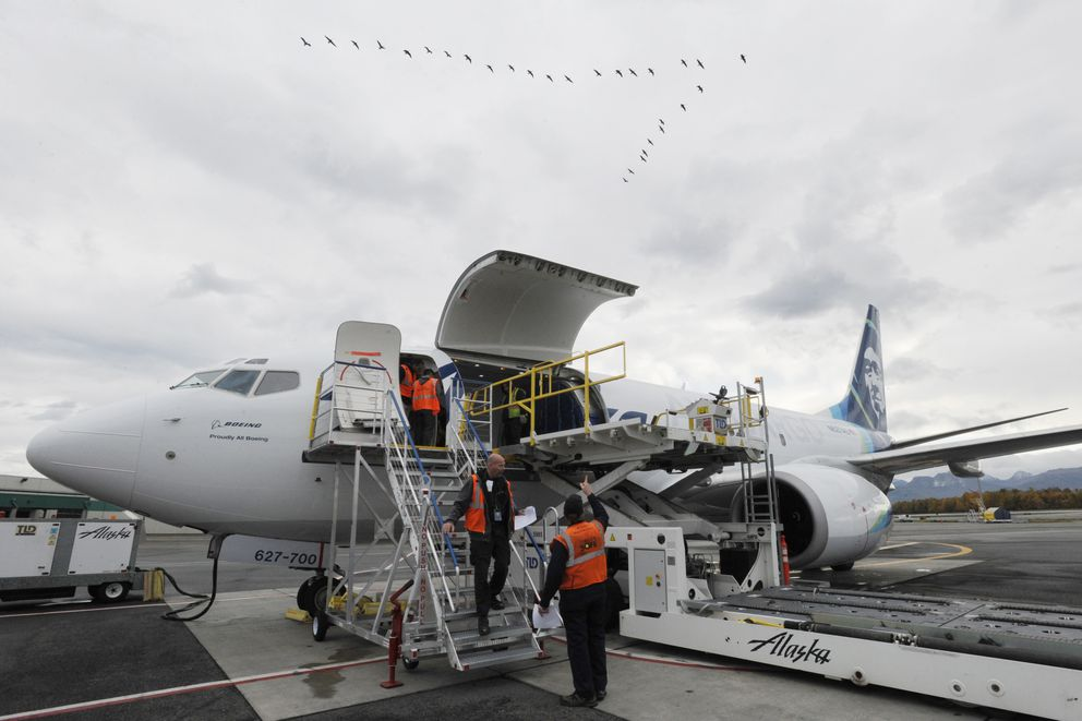 Alaska Airlines unveiled their first-ever next generation Boeing 737-700 freighter aircraft at their Anchorage cargo facility on Monday, Oct. 2, 2017. (Bill Roth / ADN)