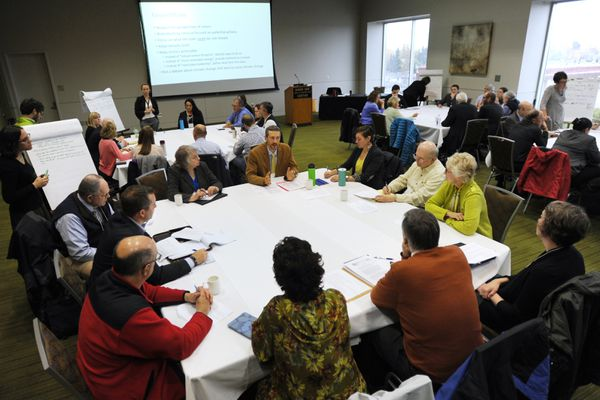 A diverse group of Alaskans from across the state and political spectrum participated in a Climate Change Roundtable hosted by the governor's office at the Dena'ina Civic and Convention Center on Wednesday, Oct. 4, 2017. (Bill Roth / Alaska Dispatch News)