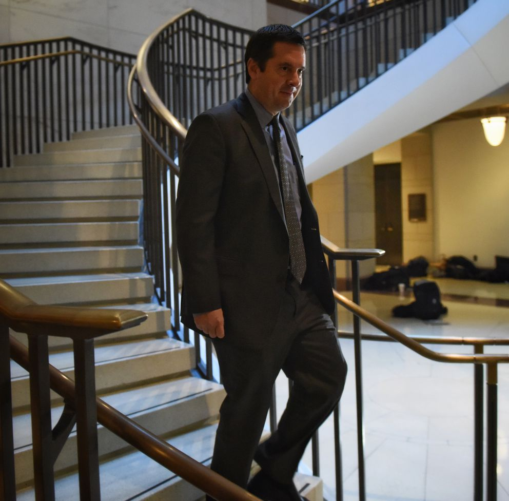 Rep. Devin Nunes, R-Calif., makes his way Monday to the House Intelligence Committee to vote on releasing a Democratic rebuttal to GOP accusations that the FBI misled a secret surveillance court. (Washington Post photo by Bill O'Leary)