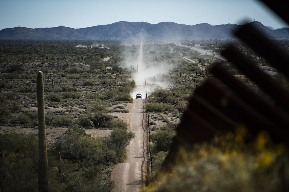 The U.S.-Mexico border barrier in Organ Pipe Cactus National Monument, in Ajo, Ariz. (Washington Post photo by Jabin Botsford)