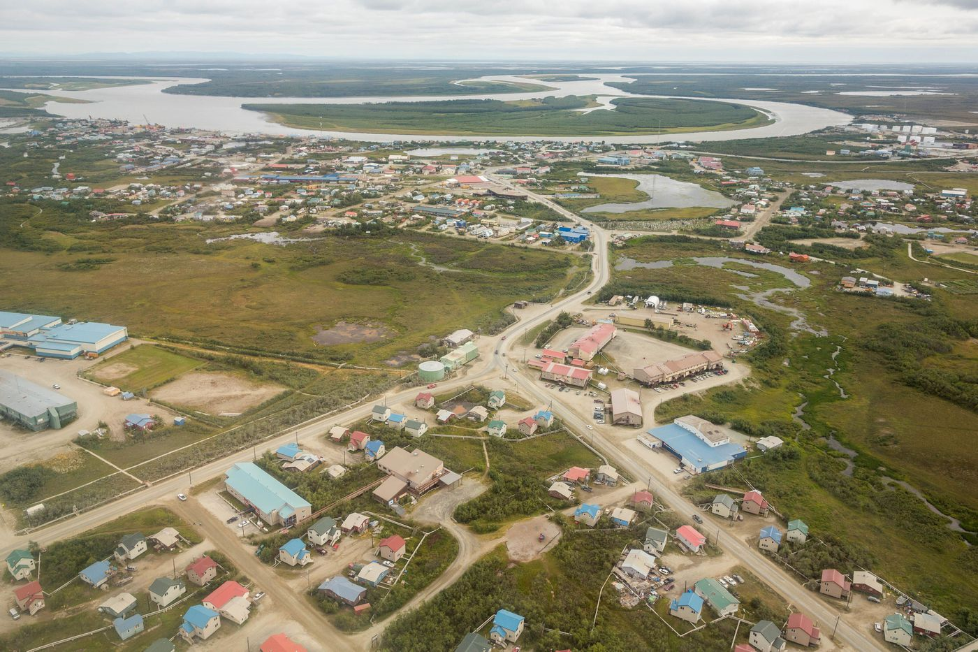 An aerial view of Bethel, on the Kuskokwim River in Western Alaska. (Loren Holmes / ADN archive)