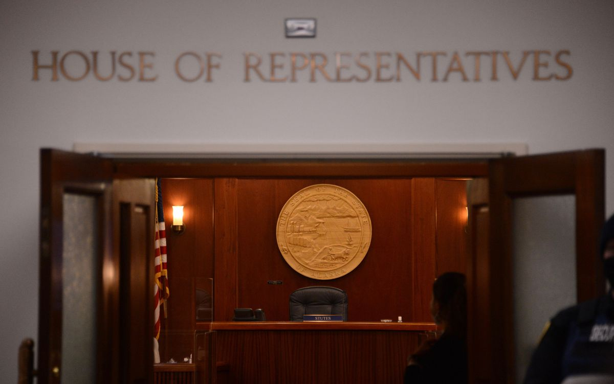 The empty chambers of the Alaska House of Representatives are seen on Thursday, Feb. 11, 2021 after Rep. Louise Stutes, R-Kodiak, was named Speaker of the House. (James Brooks / ADN)