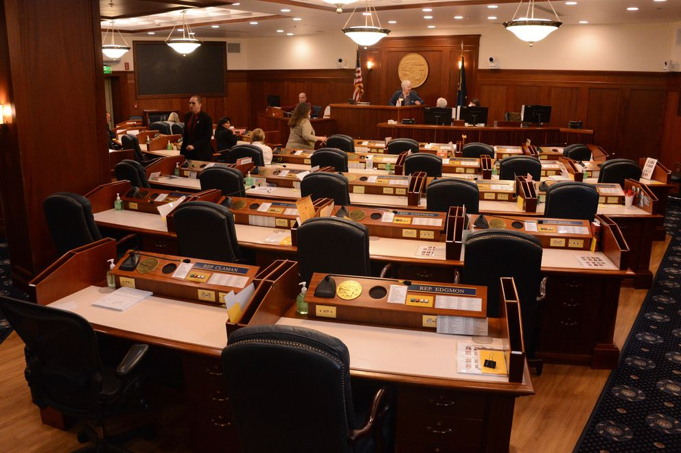 The chambers of the Alaska House of Representatives were mostly empty on Friday, June 18, 2021 as an ongoing special session ended with no fix to a budgetary problem that threatens to send Alaska into a government shutdown. (James Brooks / ADN)