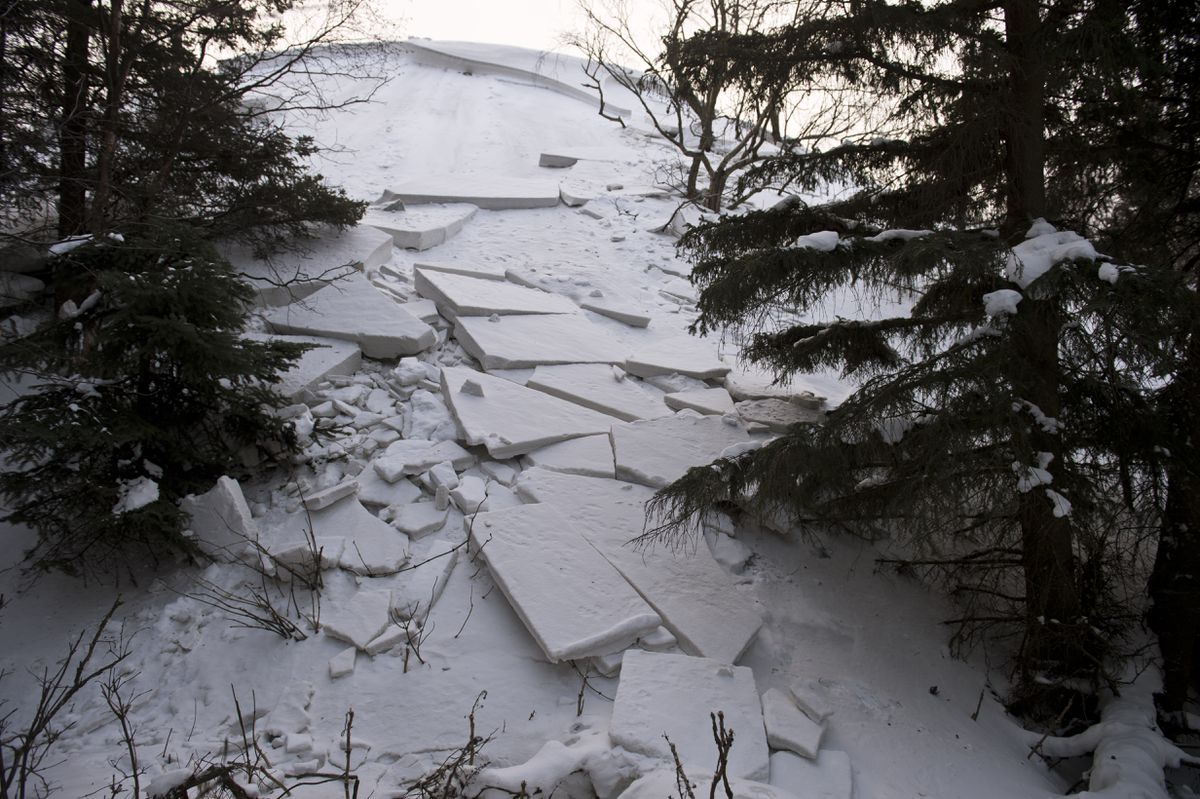 Slabs of snow slid from a sand dune hill at Kincaid Park near the Jodhpur Motocross Track recently. Three skiers in the Junior Nordic program were momentarily caught in an avalanche at the site on February 1, 2020. (Marc Lester / Anchorage Daily News)