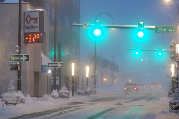 Downtown Fairbanks, Alaska, on a cold day in January 2017.