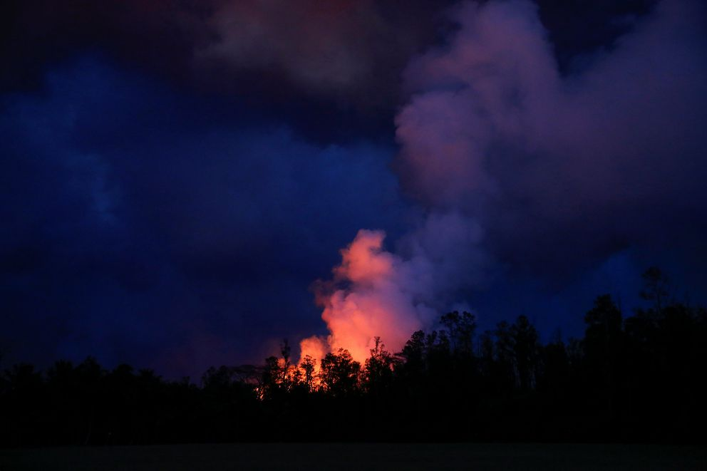 Lava erupts in Leilani Estates during ongoing eruptions of the Kilauea Volcano in Hawaii, U.S., June 9, 2018. REUTERS/Terray Sylvester