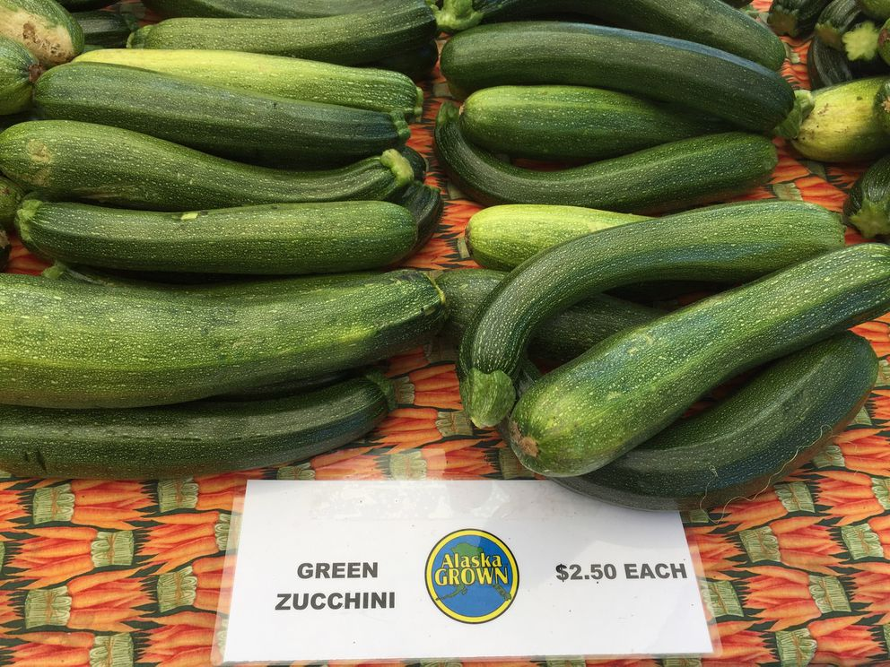 Alaska Grown zucchini at the Spenard Farmers Market Aug. 23, 2015.