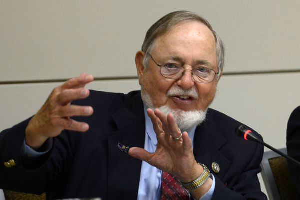 Rep. Don Young lauds a fisheries presentation during a Western Caucus Foundation Alaska Roundtable held on Thursday, August 17, 2017, at the Dena'ina Civic and Convention Center. (Erik Hill / Alaska Dispatch News)