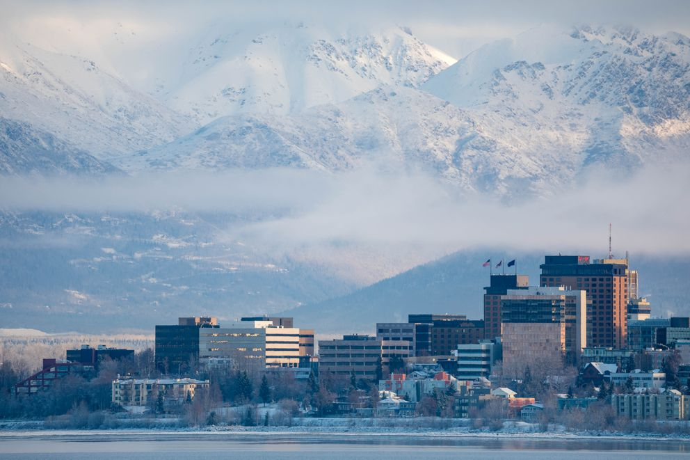Downtown Anchorage is seen from Earthquake Park Thursday, Nov. 29, 2018. (Loren Holmes / ADN)