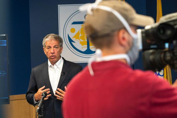 Anchorage Mayor Ethan Berkowitz delivers a COVID-19 community briefing on Friday, July 17, 2020 at city hall. (Loren Holmes / ADN)
