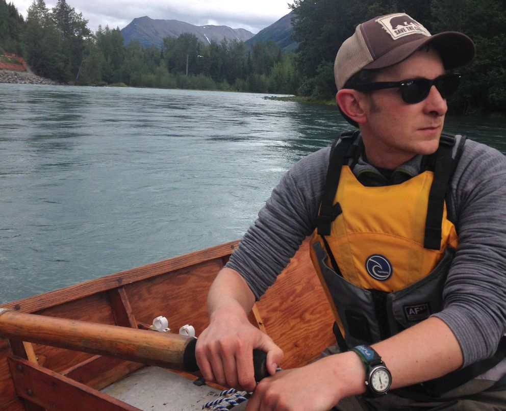 Sam Weis rows on the Kenai River in 2014 in his restored drift boat. (Courtesy of the family)