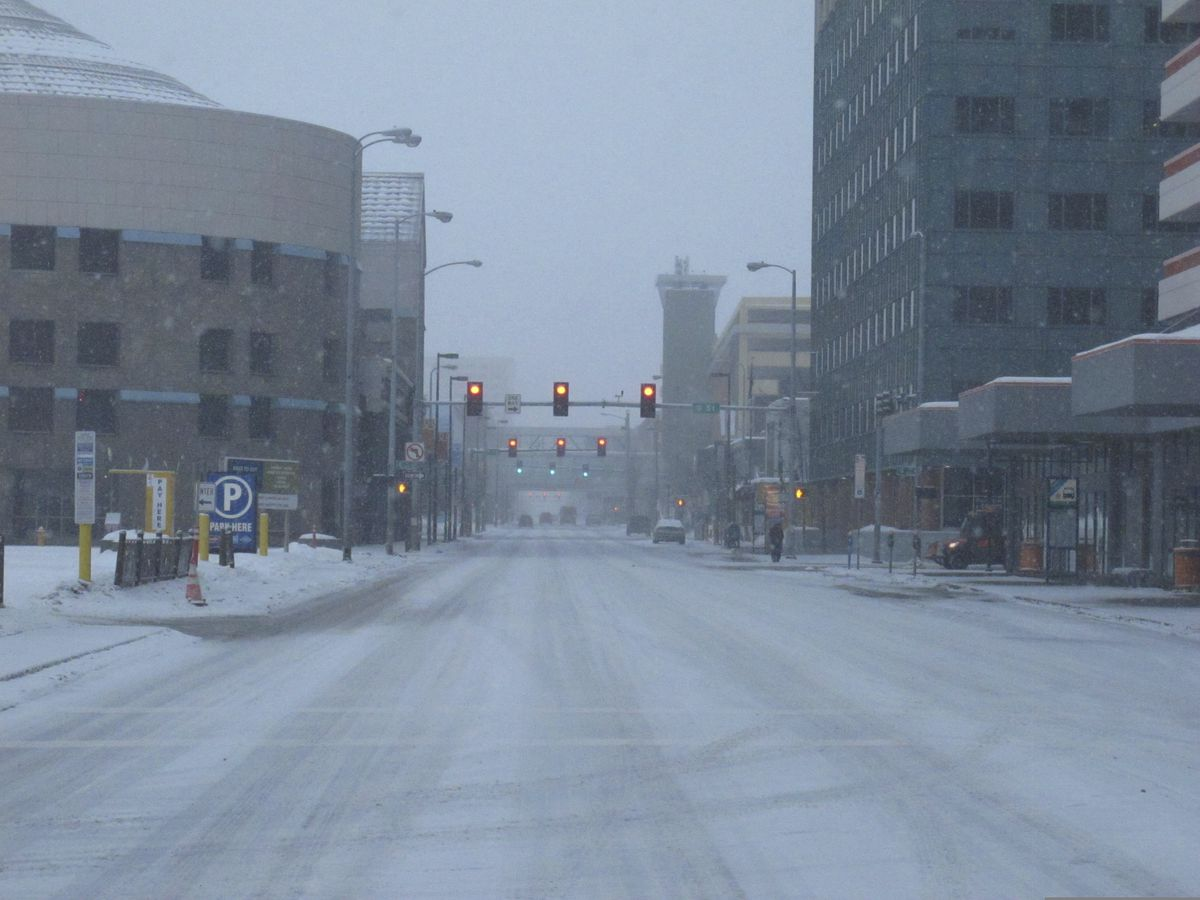 Streets were mostly desolate Saturday, March 21, 2020, in downtown Anchorage, Alaska. Anchorage Mayor Ethan Berkowitz has issued a