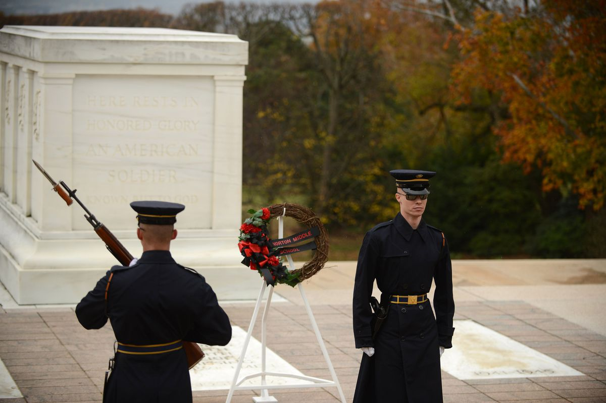 Honor guards patrol the Tomb of the Unknown Soldier at Arlington National Cemetery in Arlington, Virginia, on Friday. Photo for The Washington Post by Astrid Riecken