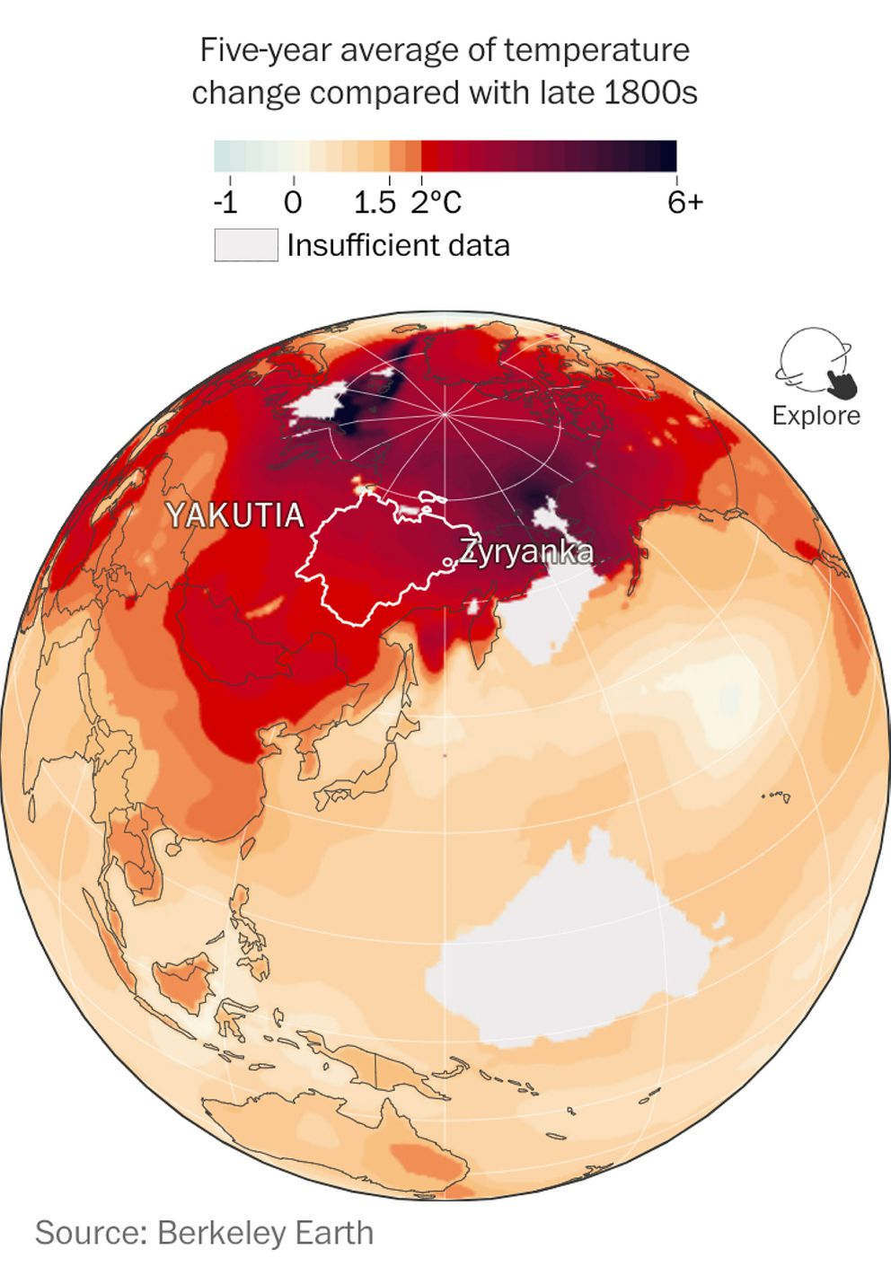 Five-year average of temperature change compared with the late 1800s. (Berkeley Earth)