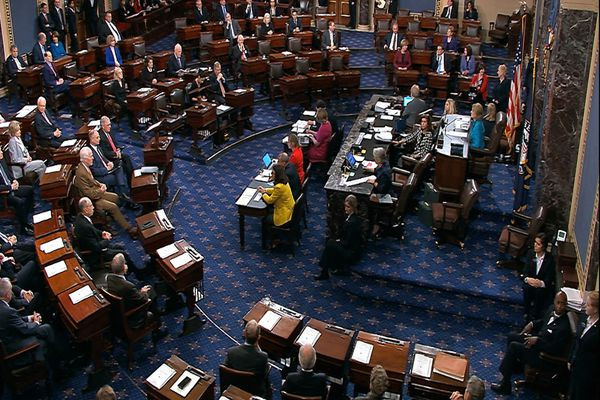 In this image from video provided by Senate TV, the Senate Chamber is shown during a procedural vote on Brett Kavanaugh's nomination to the Supreme Court, Friday morning, Oct. 5, 2018 at the Capitol in Washington. (Senate TV via AP)