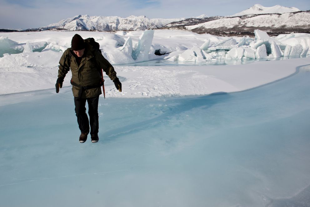 Matanuska Glacier Park guide and caretaker Bill Stevenson walks across ice at the foot of Matanuska Glacier on February 23, 2017. (Marc Lester / Alaska Dispatch News)