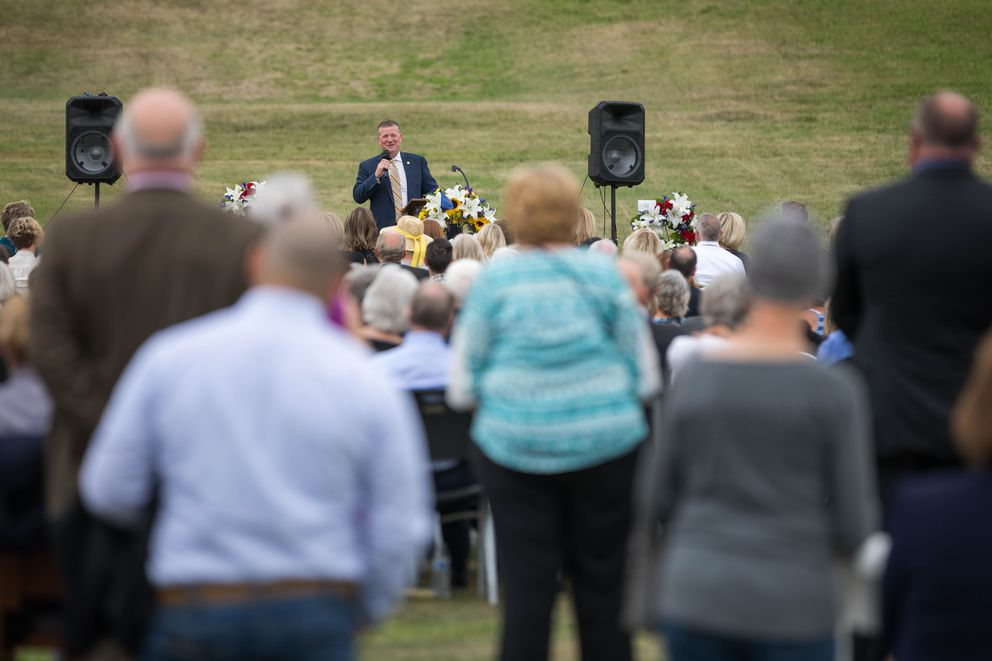 Rep. Chuck Kopp speaks Thursday, Aug. 15, 2019 during a celebration of life for Chris Birch at Hilltop Ski Area. (Loren Holmes / ADN)