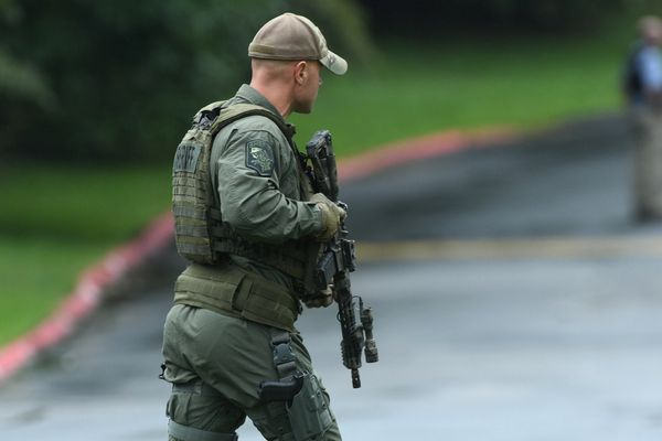 Authorities respond to a shooting in Harford County, Md., Thursday, Sept. 20, 2018. Authorities say multiple people have been shot in northeast Maryland in what the FBI is describing as an