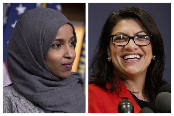 "FILE - This combination of 2018 photos shows Reps.-elect Ilhan Omar, D-Minn., left, and Rashida Tlaib, D-Mich., in Washington. On Friday, Dec. 21, 2018, The Associated Press has found that stories circulating on the internet that three Muslim congresswomen refused to sign the oath of office to uphold the U.S. Constitution, are untrue. Representatives for both Omar and Tlaib described those claims as ""categorically false."" The two became the first and only Muslim women elected to Congress in 2018. (AP Photo/Carolyn Kaster, File)"