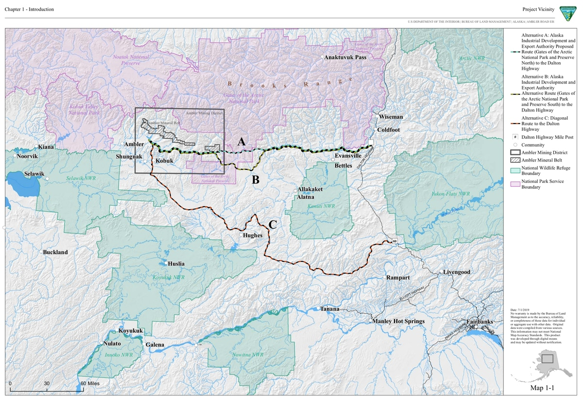 The proposed Ambler road and alternative routes. (Bureau of Land Management)