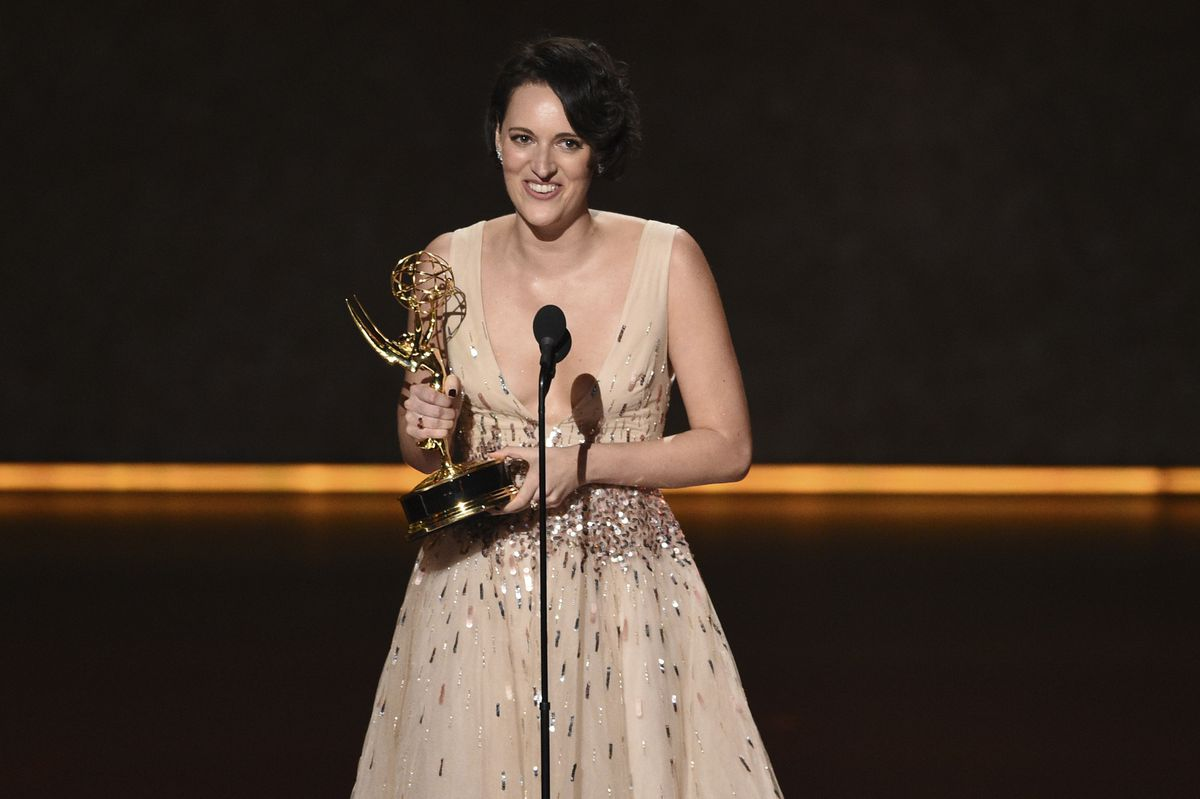 Phoebe Waller-Bridge accepts the award for outstanding writing for a comedy series for