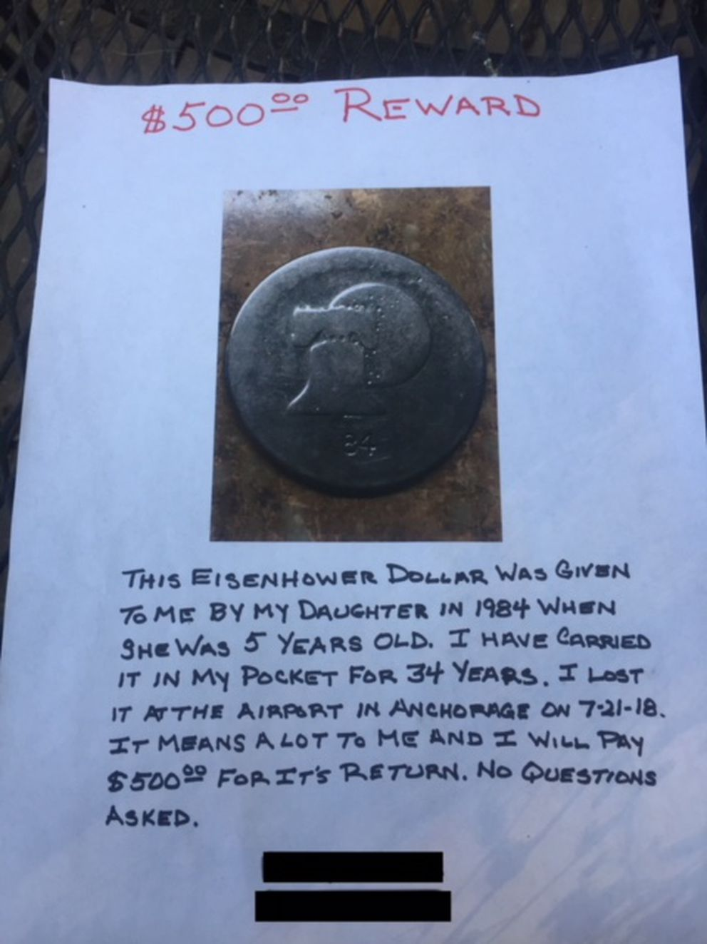 "Gary Peters is offering a $500 reward, ""no questions asked,"" to anyone who gets his beloved Eisenhower dollar back to him. He thinks he lost it at Ted Stevens Anchorage International Airport. (Photo courtesy Gary Peters)"
