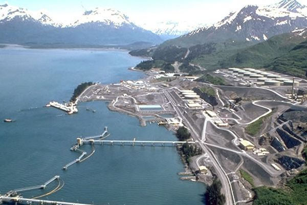 The Valdez Marine Terminal of the Trans-Alaska Pipeline System is seen from the air. UNDATED, UNSOURCED