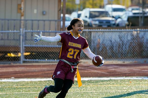 Dimond High School's Skyler Coleman celebrates after scoring a touchdown during the Cook Inlet Conference flag football championship game against West on Thursday, Oct. 22, 2020 at Dimond High School. Dimond won 22-0. (Loren Holmes / ADN)